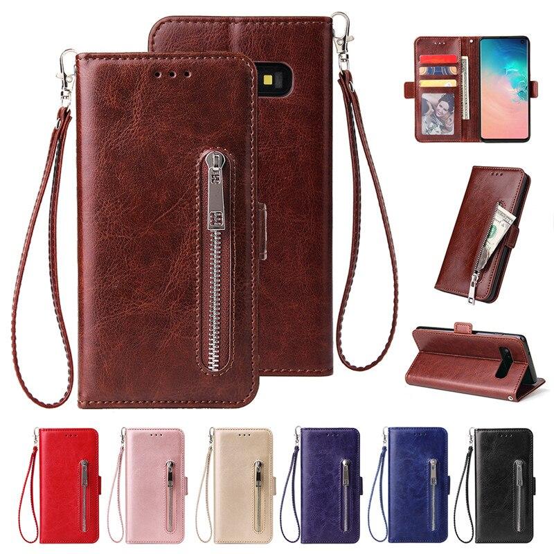 S20ultra caso para Samsung Galaxy S8 S9 S10E S20 J4 J6 Plus 5G Nota 8 9 10 J3 J7 J8 2018 J5 2017 cartera cremallera cubierta de tirón de cuero