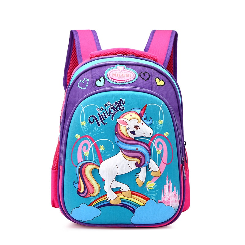 2019 nuevos niños bolsas de la escuela ortopédicos unicornio mochila impermeable mochila para niños niñas mochilas de poni de grado 1-3