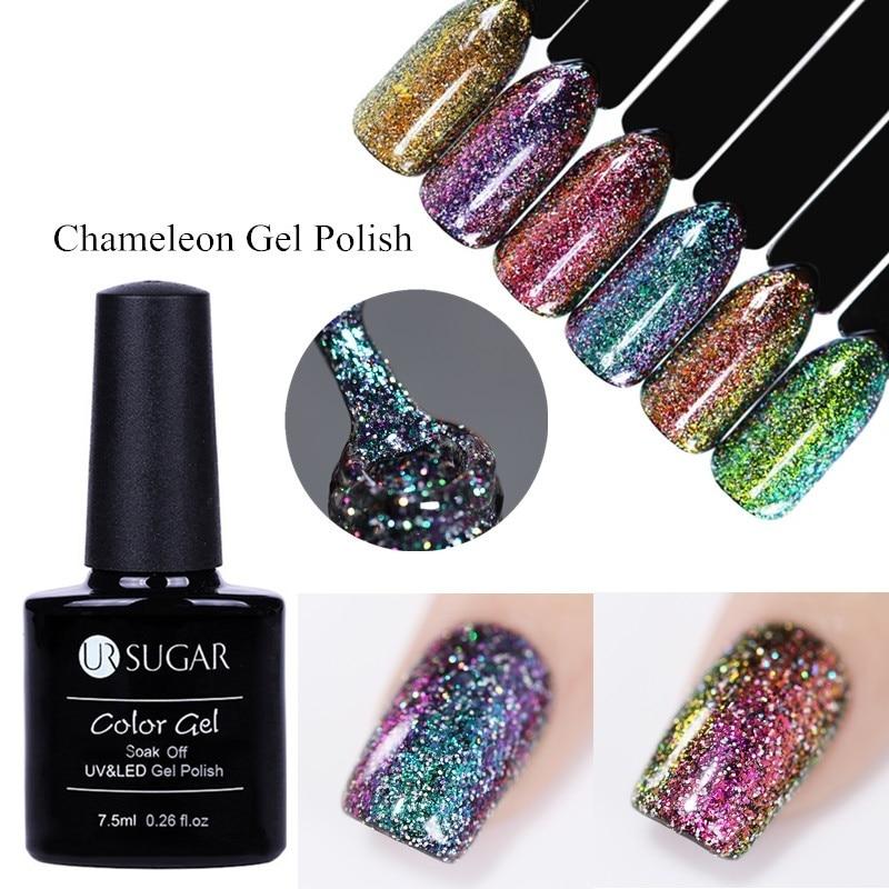 UR SUGAR UV Chameleon  Gel Polish sparkly Platinum Glitter Shinny Nail Varnish Nail Art 7.5ml varnish Black Base Need