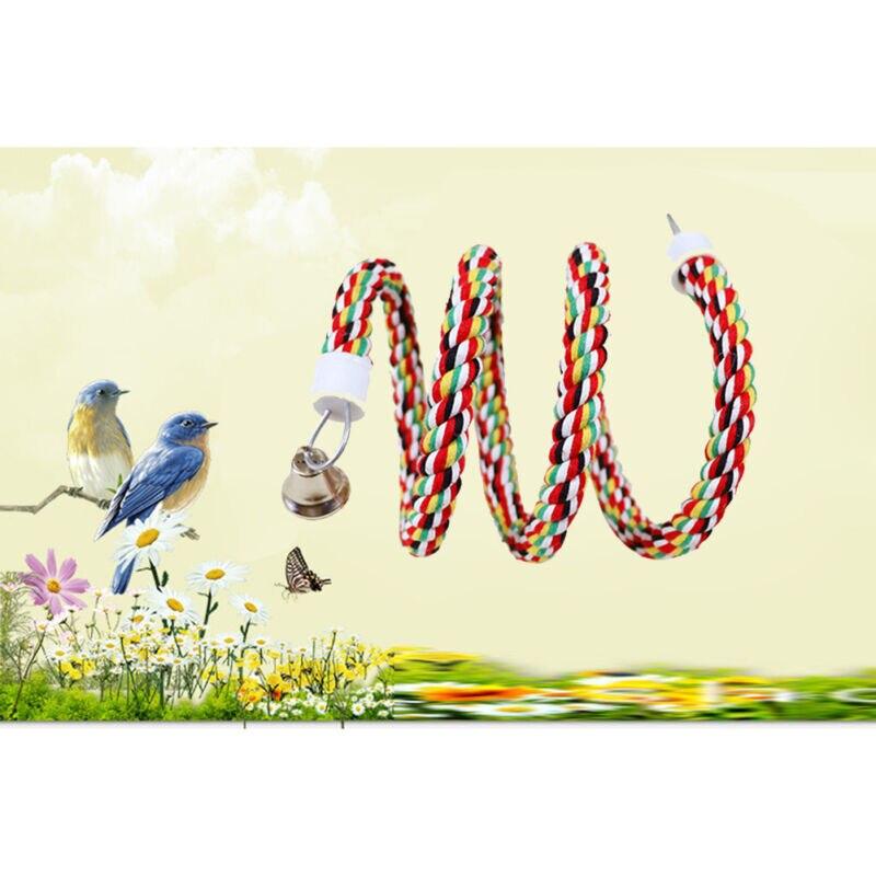 Percha para pájaros de juguete, loro, cuerda de algodón, lámpara tipo jaula para masticar, soporte de barra, espiral con cascabel, la mejor