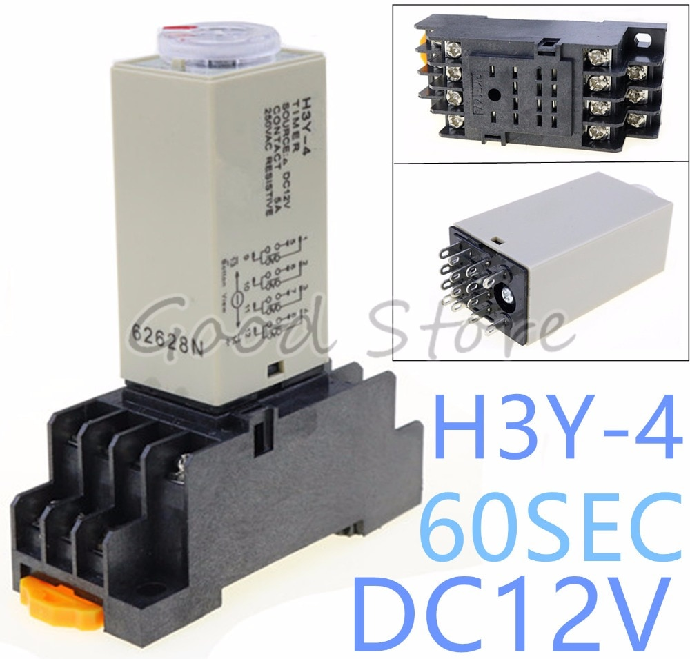 10Sets H3Y-4 0~60S 12VDCPower On Time Delay Relay Solid-State Timer ,4PDT,14Pins & Socket