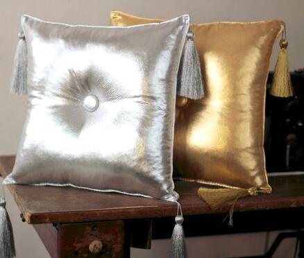 De plata y borla de oro almohada cojín con relleno almohada de la cintura coche sofá cama habitación casa Dec venta al por mayor FG1028