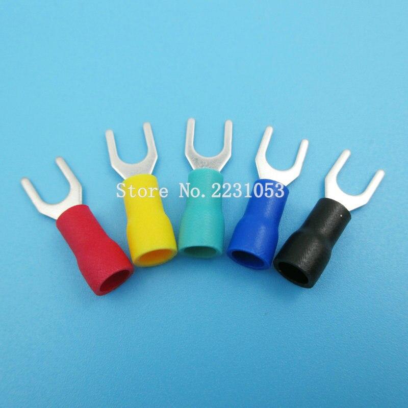 100 unids/lote, Conector de cable de horquilla aislado, Terminal de crimpado eléctrico, SV1.25-4S SV1-4