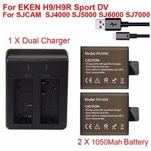 2 аккумулятора для спортивной экшн-камеры EKEN H9 H9R H3R H8PRO H8R pro SJCAM SJ4000 SJ5000 Sport Mini DV Bateria + двойное зарядное устройство, 1050 мАч
