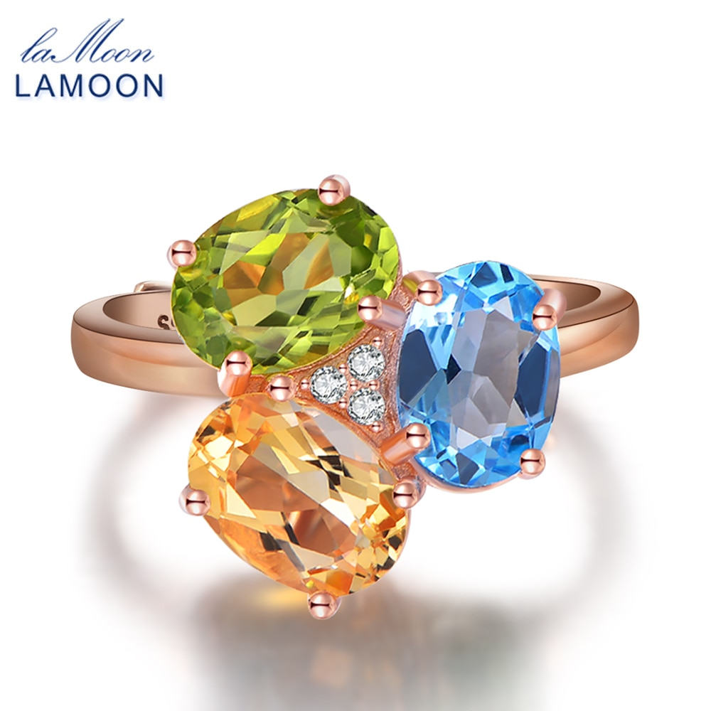 Piedra ovalada LAMOON de 3 colores, citrino, peridoto y topacio, Plata de Ley 925, anillos para fiesta y boda para mujer, joyería fina RI002