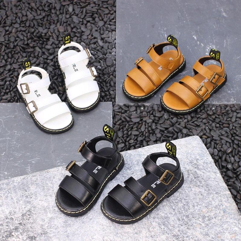 ¡Novedad de 2018! Sandalias de verano para niños, sandalias de Metal coreano con hebilla para niños, zapatos para niñas, sandalias de cuero para niños pequeños, sandalias EUR21-30 #