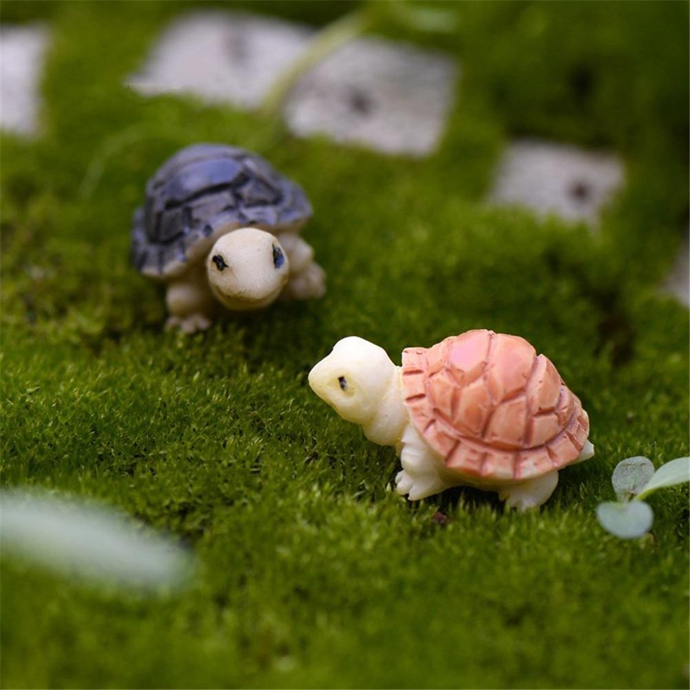 1 Pair Lovely Turtles Micro Fairy Figurines Miniatures Garden Decor Accessories