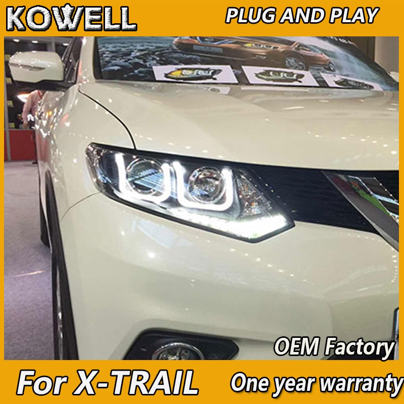 KOWELL автомобильный Стайлинг для Nissan X-Trail фары 2014-17 Nissan X-Trail светодиодный DRL Объектив двойной луч H7 HID Xenon bi xenon