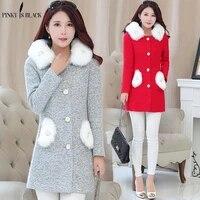 pinkyisblack new 2019 autumn winter women wool coat hooded long elegant wool blend coats slim type female pockets coat outwear