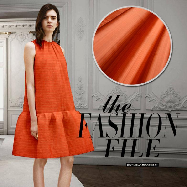 LEO&LIN  New High Quality Treasures Taffeta Silk Taffeta Silk Fabric For Dress Orange Color 50cm