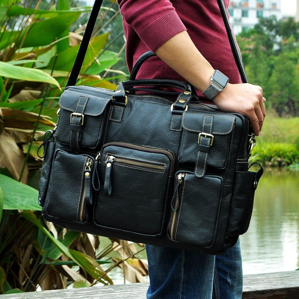 حقيبة سفر من الجلد الطبيعي للرجال ، طراز عتيق ، سعة كبيرة ، حقيبة أعمال ، كمبيوتر محمول ، 15.6 بوصة ، محفظة 3061-b