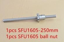 RM1605 diamètre 16mm vis à billes RM1605 longueur 250mm plus SFU1605 écrou à billes CNC bricolage machine à découper 1 pièces