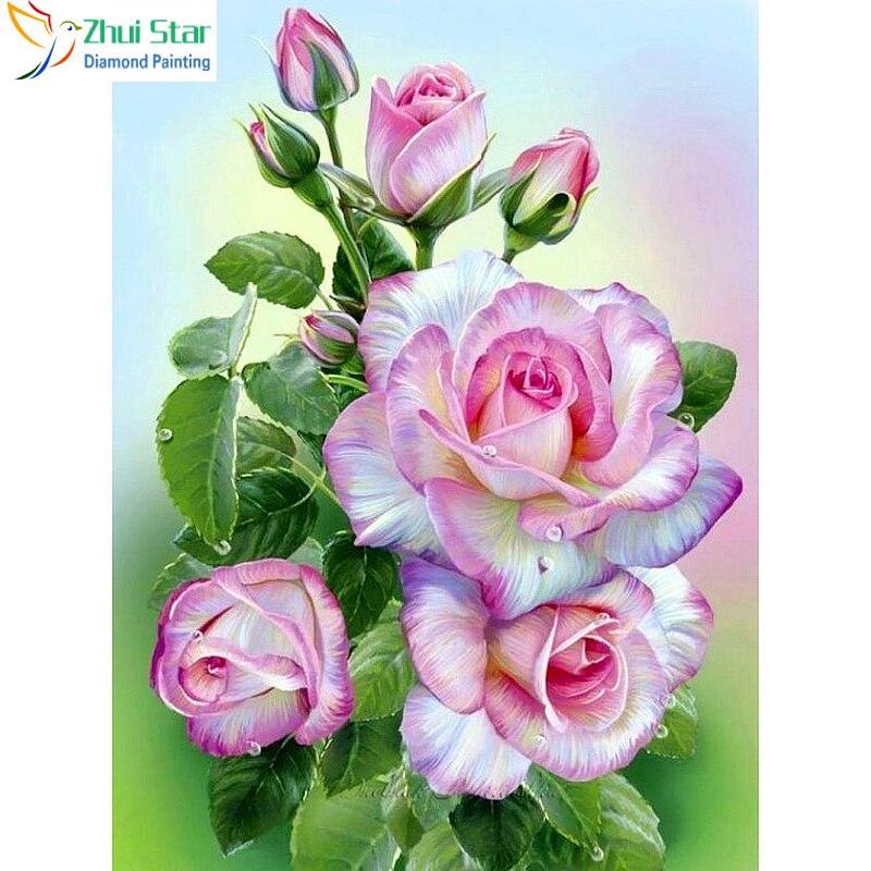Zhui Star Алмазная вышивка floewres Розовые розы Diy Алмазная Картина Вышивка крестом полностью Стразы мозаика домашняя декоративная