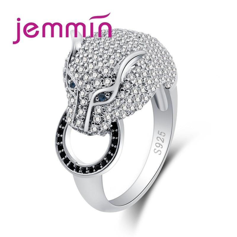 Retro punk besta leopardo conjunto completo branco zircônia cúbica 925 anel de prata esterlina para as mulheres moda masculina jóias