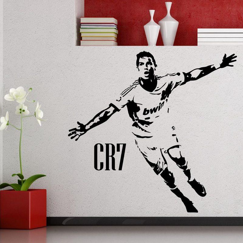 CR7 Ronaldo jugador de fútbol etiqueta de la pared deportes calcomanía niños habitación decoración carteles vinilo jugador de fútbol CR7 pegatina de coche