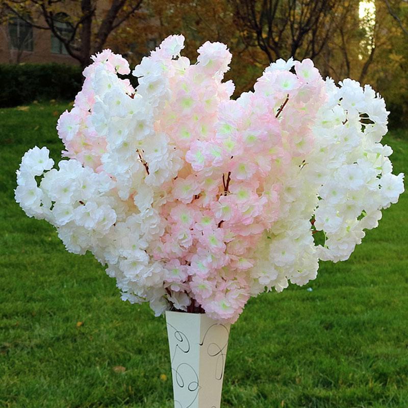 100cm Simulation Cherry Blossom Branch Wedding Decoration Fake Flowers Encrypted Ribbon Pear Tree Branch Twig Flower Flowering