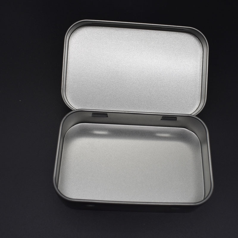 Storage Kit Tin Hinged Silver Small Empty Plain Metal Storage Bit Box Case Organizer For Money Coin Candy Keys