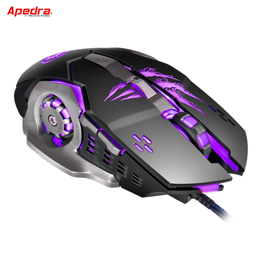 Ratón para juegos por cable APEDRA, 6 botones, diseño mecánico, ratón óptico USB para ordenador, ratón de juegos para PC, ordenador portátil A8
