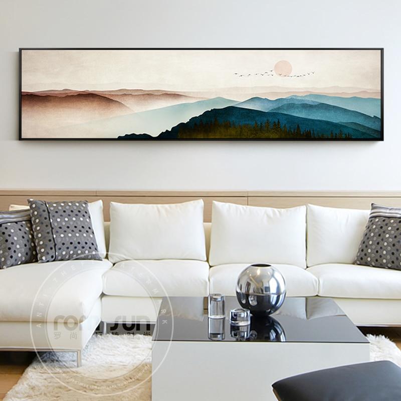 Nuevo estilo chino montañas lienzo pintura paisaje moderno carteles e impresión pared arte cuadrado Decoración Para sala de estar dormitorio
