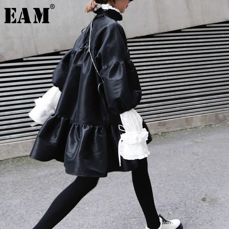 [EAM] 2020 nueva primavera verano Stand Collar manga larga Puff negro suelto Hem Ruffels Stitch vestido suelto mujeres moda marea JK852