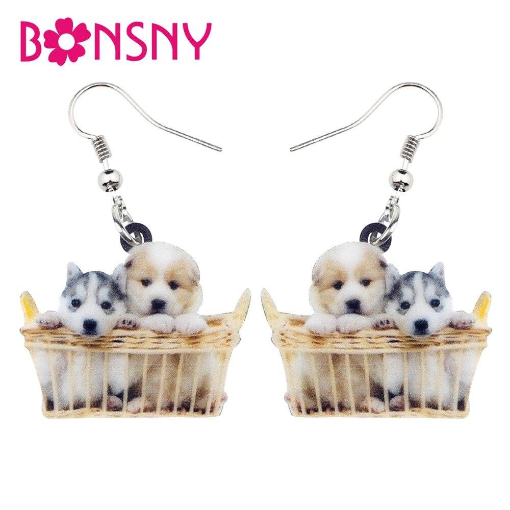 Bonsny de acrílico cesta de perro Shih Tzu perro pendientes colgantes nueva novedad lindo Animal de la joyería para las mujeres chica amantes de las mascotas