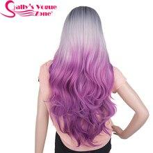 Perruque Cosplay synthétique ondulée 24 pouces-Sallyhair   Perruque longue résistante à la chaleur, perruque Ombre noire grise violette, 280 grammes pour femmes