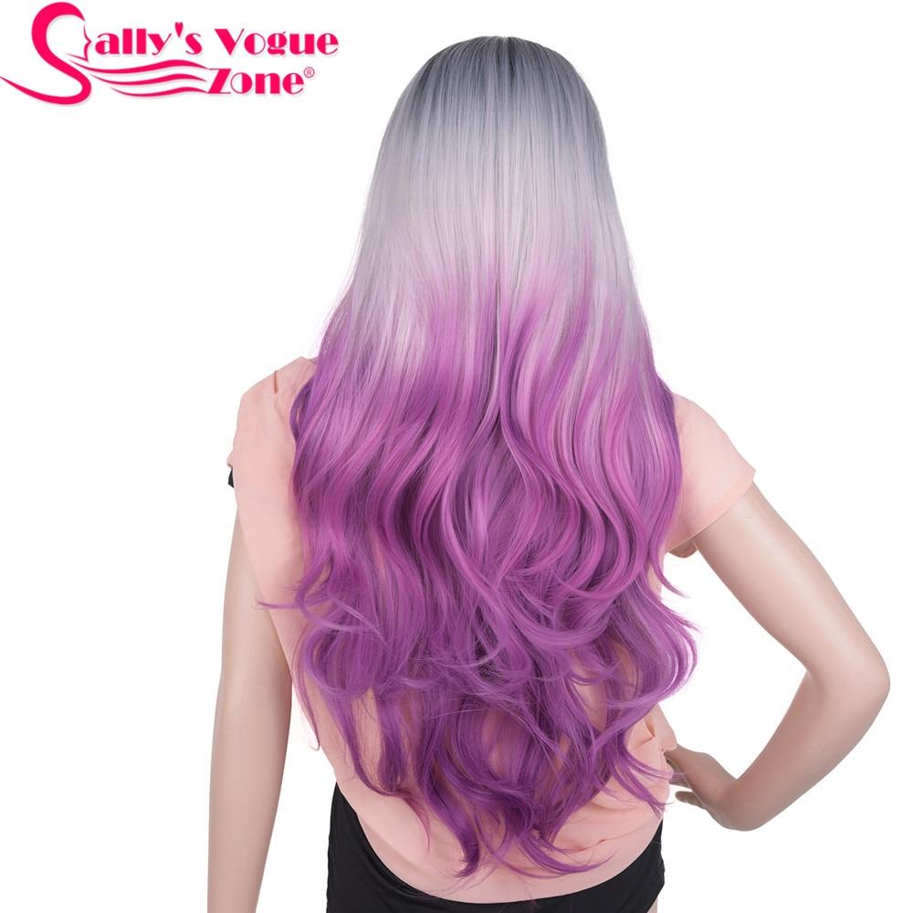 Sallyhair resistente al calor 24 pulgadas largo ondulado Cosplay pelucas sintéticas 280 gramos Ombre negro gris púrpura peluca sin encaje para mujeres