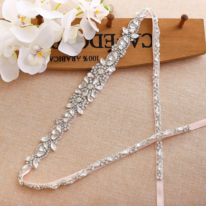 De plata Ceñidor de cristal de novia diamantes de imitación de novia, correa de boda cinturón nupcial de dama de honor vestidos A138S
