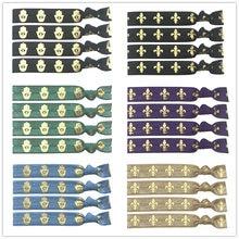 "40pcs 5/8"" Fleur de Lis Head Palm Eyes Spear Gold Foil Print Elastic Band Ribbon Hawaiian Birthday Hair Ties Bracelet Wristband"