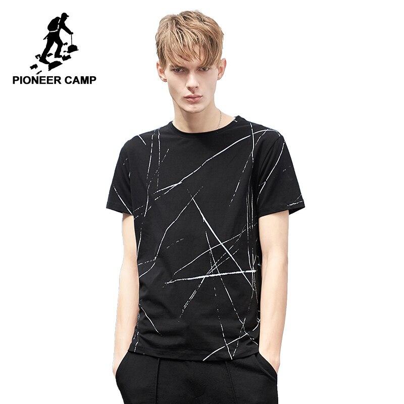 Pioneer Camp mode muster männer T shirt marke-kleidung casual sommer T-shirt männlichen qulaity stretch schwarz Tees & tops ADT802081