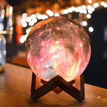3D mond lampe RGB Led nachtlicht bunte starry sky moonlight tisch lampe touch fernbedienung home indoor dekoration beleuchtung