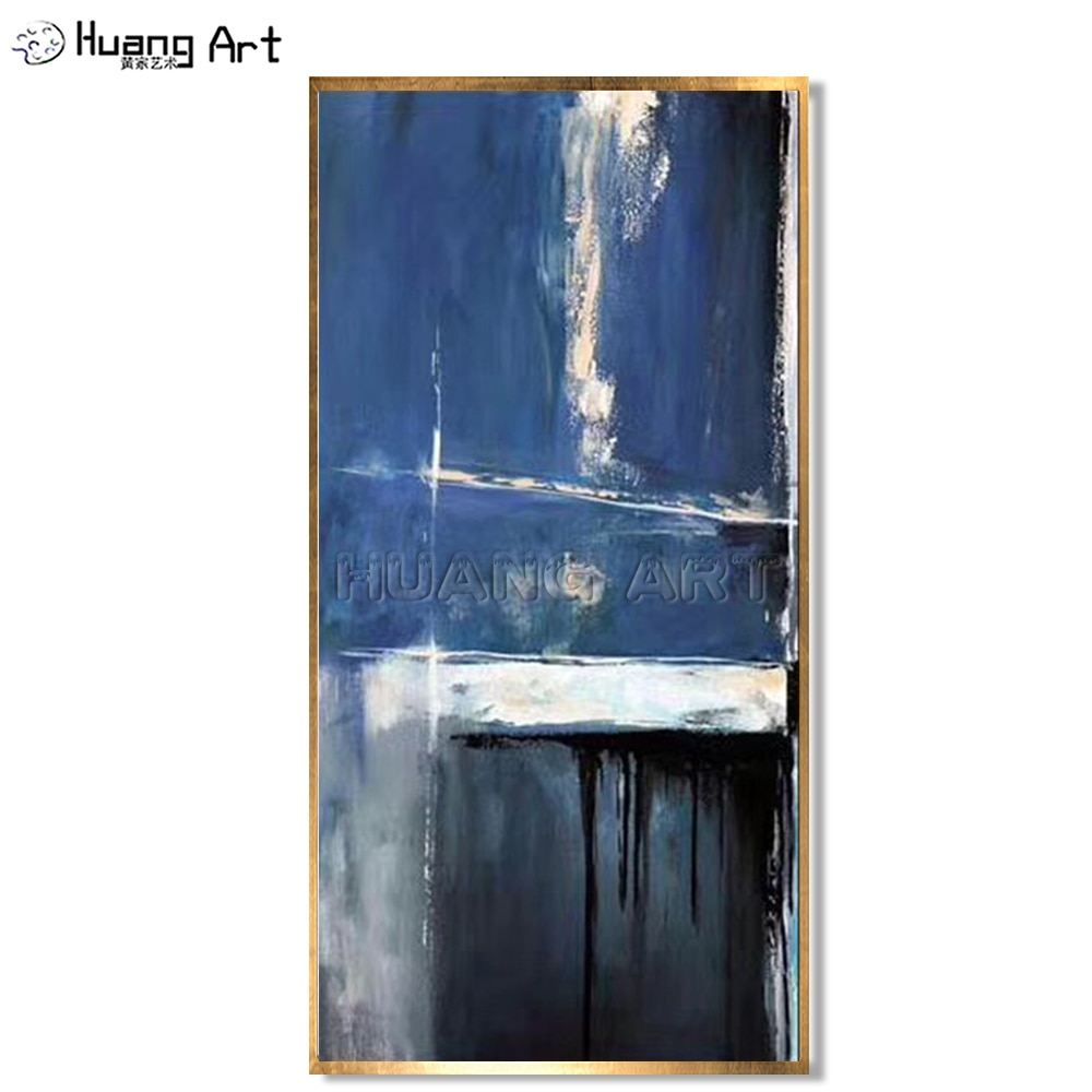 100% pintado a mano grande moderno pintura colgante abstracta azul marino pintura al óleo abstracta sobre lienzo para decoración para las paredes del salón