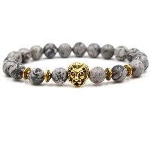 Fashion handmade natural stone gray white pattern beaded men's golden lion head bracelet mature lucky jewelry birthday gift