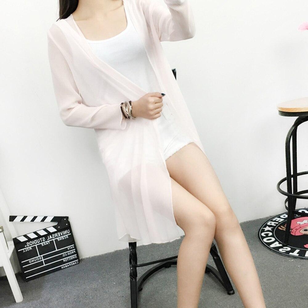 Blusa de chifón para cubrir el sol, cárdigan de manga larga para mujer, camisa transparente para playa, Kimono blanco para mujer, blusas S-XL