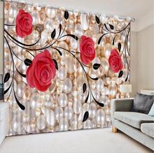 레드 로즈 디지털 인쇄 3d 블랙 아웃 사진 블랙 아웃 창 커튼 거실 용 럭셔리 3d 커튼 침대 룸 오피스 호텔 홈