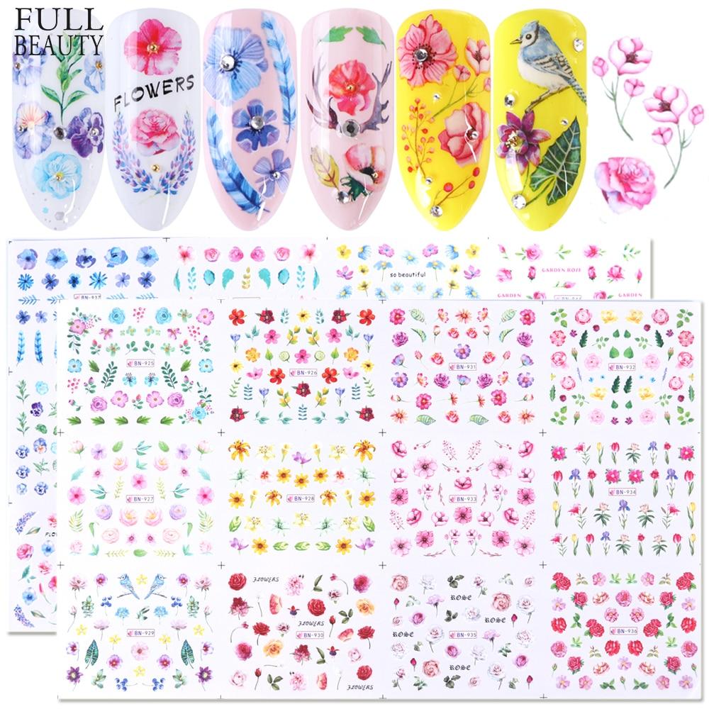 Full Beauty 24 Uds flor marca de agua deslizador pegatinas de uñas pegatinas colorido estampado de plantas decoración de uñas manicura CHBN925-948