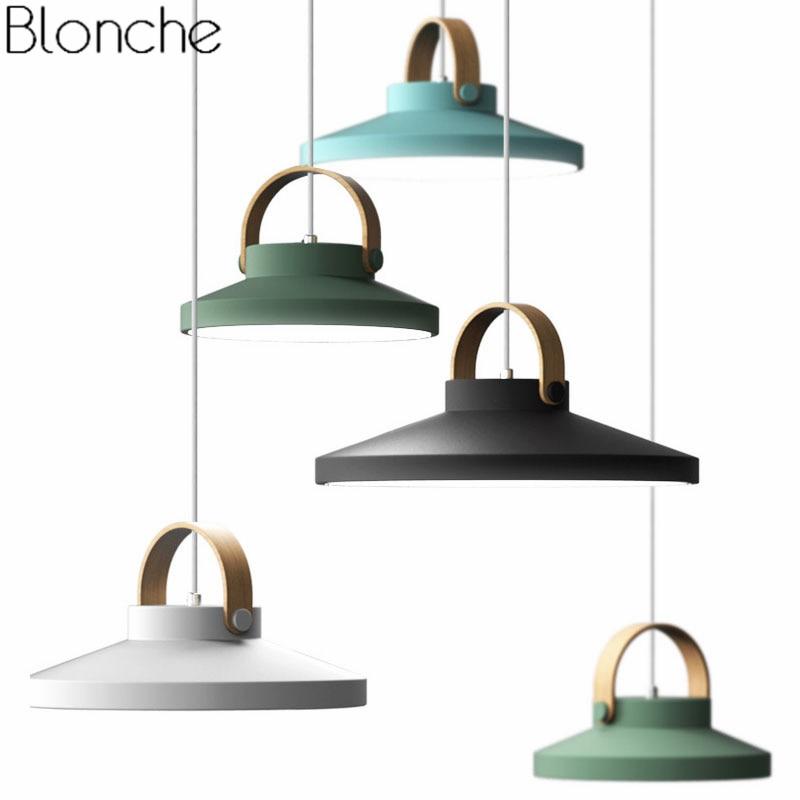 Lámparas colgantes de madera de hierro nórdico para comedor, dormitorio, cocina, accesorios de iluminación, lámpara colgante Led moderna, luminaria de decoración artística para el hogar