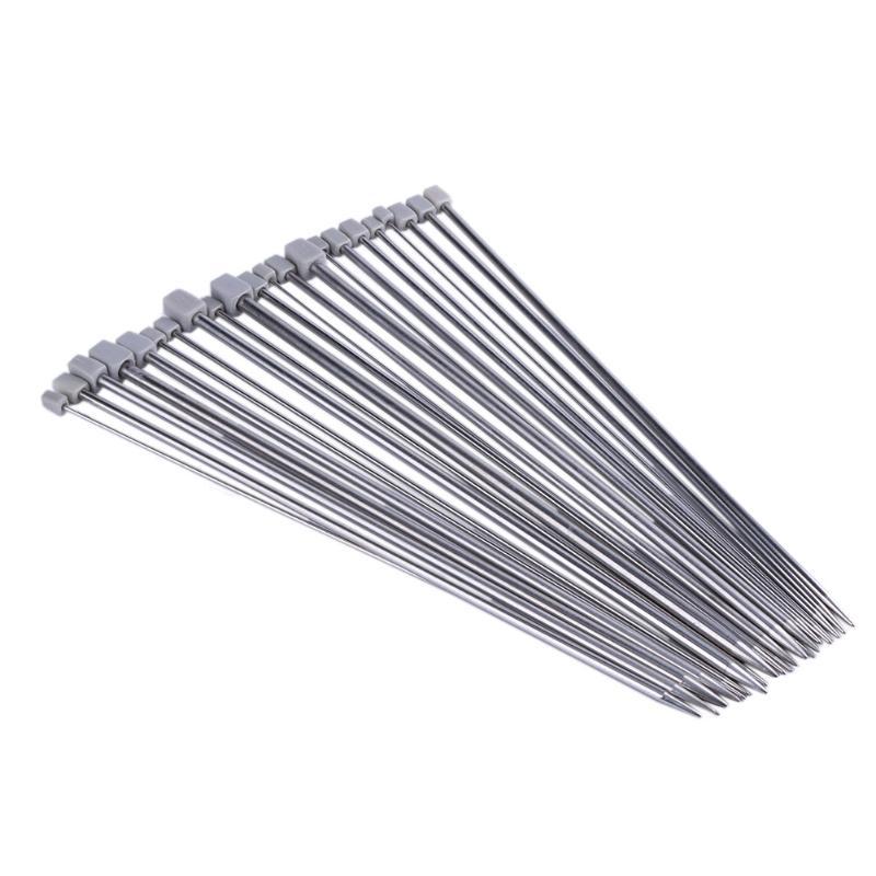 22Pcs 11Sizes 35cm Knitting Needles Stainless Steel Straight Single Pointed Knitting Needles Set for Weave Craft Knitting Tool