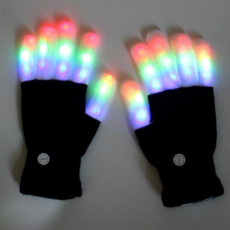 Флуоресцентные светодиодные перчатки, рождественские реквизиты, перчатки для праздников, светящиеся палочки, Спиннер, светодиодные лампы, ...