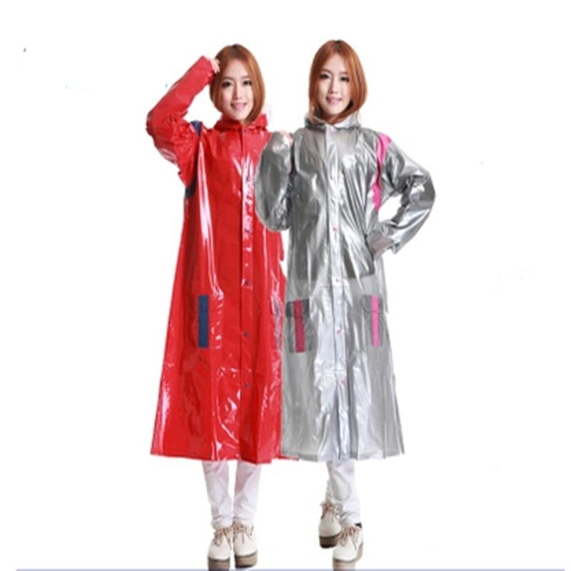 Women's Trench Coat Long Red Silver Thick  Super Big Trench Rain Coat Travel Winter  Camping Rain Poncho Chubasquero Mujer