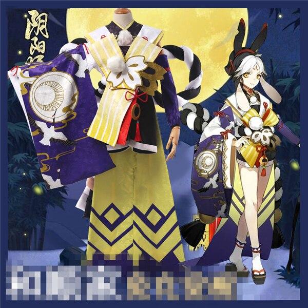 Juego caliente Onmyoji conejo píldora awaken ssr cos tops + Pantalones + faja + bolsa + detrás de la cuerda cosplay disfraz + Envío gratis O