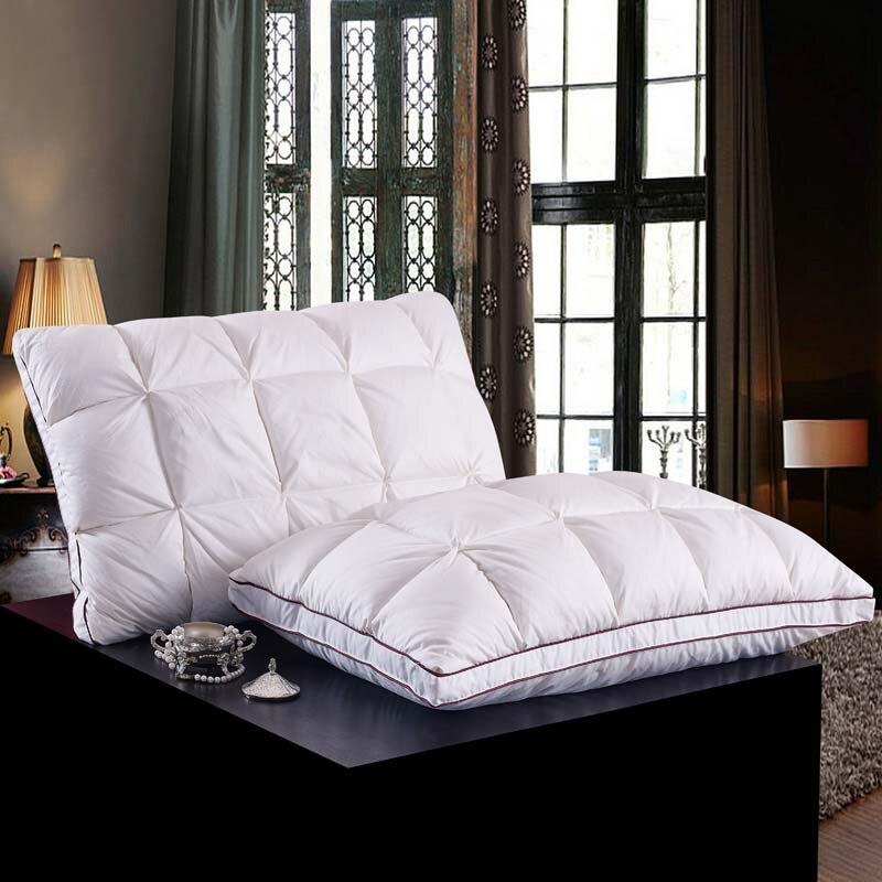 مستطيل 95% أوزة أسفل + 5% ريشة وسادة اللون الأبيض أسفل واقية من القطن السرير الوسائد الفراش الرقبة almohada الرقبة الصحية 48*74 سنتيمتر 50