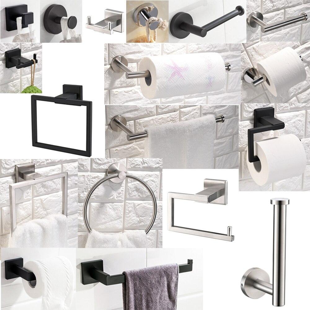 Envío Gratis toallero de cocina toalla gancho bata SUS 304 Acero inoxidable baño toallero gancho negro/cepillado/pulido
