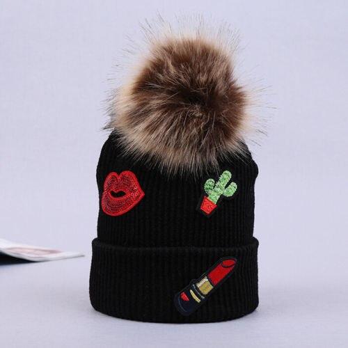 Pintalabios bordado patrón mujer señora Faux piel bola invierno cálido sombrero ganchillo tejido gorro invierno cálido Casual sombrero femenino