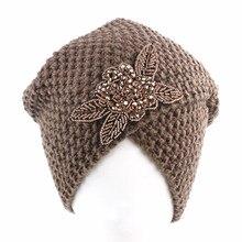 Turbante musulmán de invierno, gorro tejido con diamantes de imitación con estampado cálido, gorro para dormir, turbante para quimio, accesorios para el cabello para pacientes con cáncer