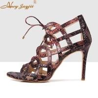 women shoes ladies sandals animal print ankle strap lace up weddingparty super high thin heels novelety elegant fashion 2019