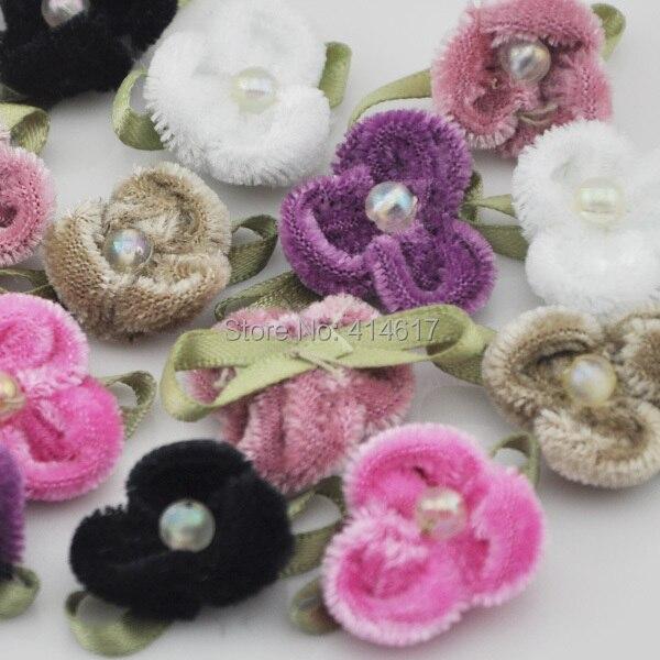 20 piezas de cinta de terciopelo apliques de flores muñeca mucha mezcla Upick A024