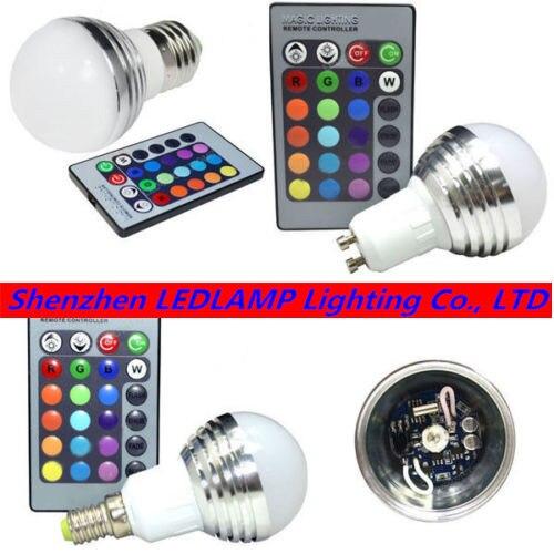 3W B22 E27 GU10 MR16 E14 RGB LED Bulb 16 Color Change Lamp bulb 85-265v rgb controller for Home Party decorationr DHL Free ship