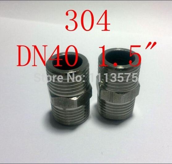 "DN40 1.5 ""304 321 316 parafuso do hex do aço inoxidável rosca macho duplo encanamento conector acessórios mamilo"