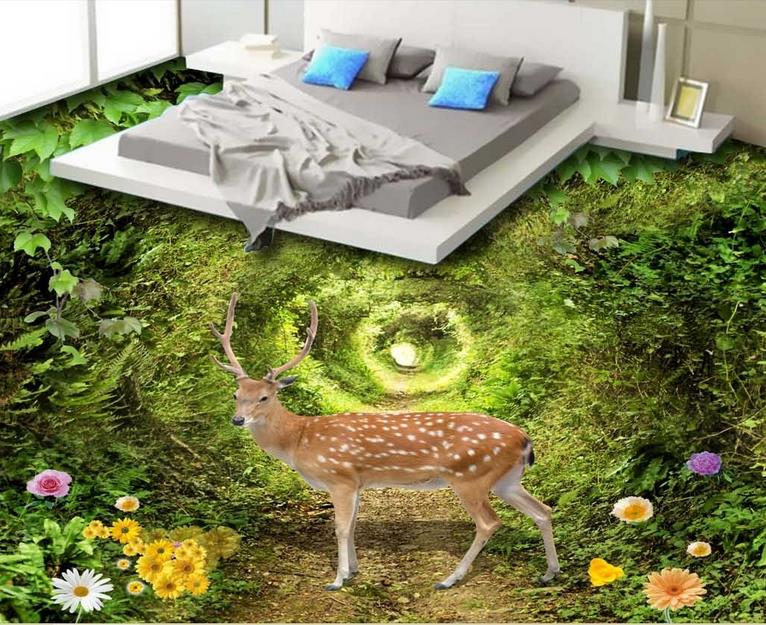 Papel pintado de suelo 3d verde hermoso-rollo-tamaño bosque ciervo autoadhesivo papel tapiz 3d piso azulejos foto papel tapiz 3d suelo
